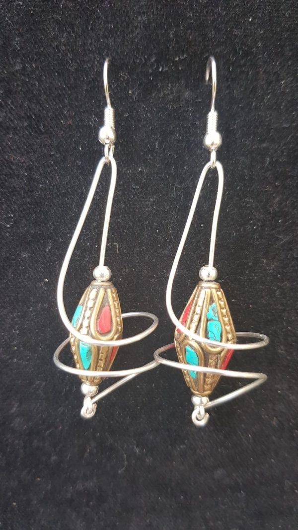 UNIQUE Vortex Twin Earrings, Tibetan beads, Beautiful, hand crafted, drop earrings.